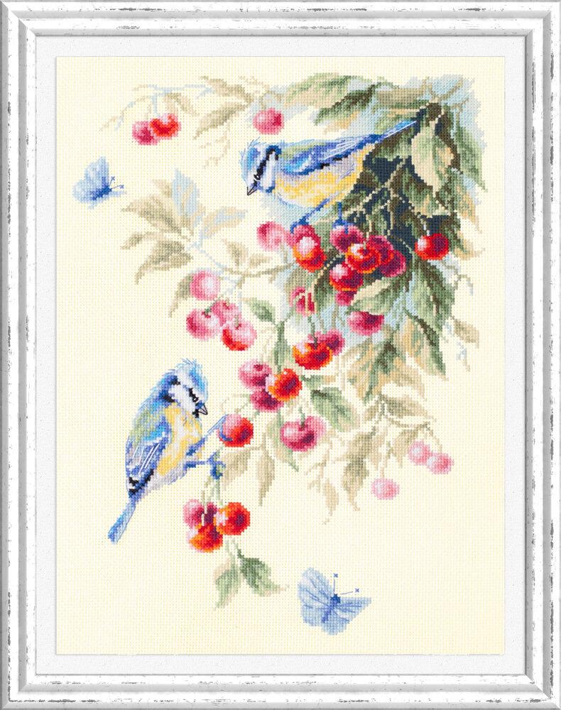 """Набор для вышивания 130-021 """"Синицы и вишня"""", 25х35см"""