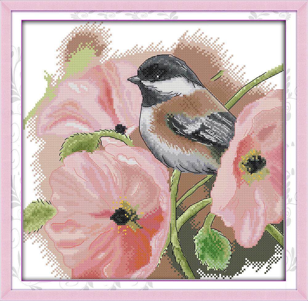 Набор для вышивания D 757 Птичка в цветах 35x34