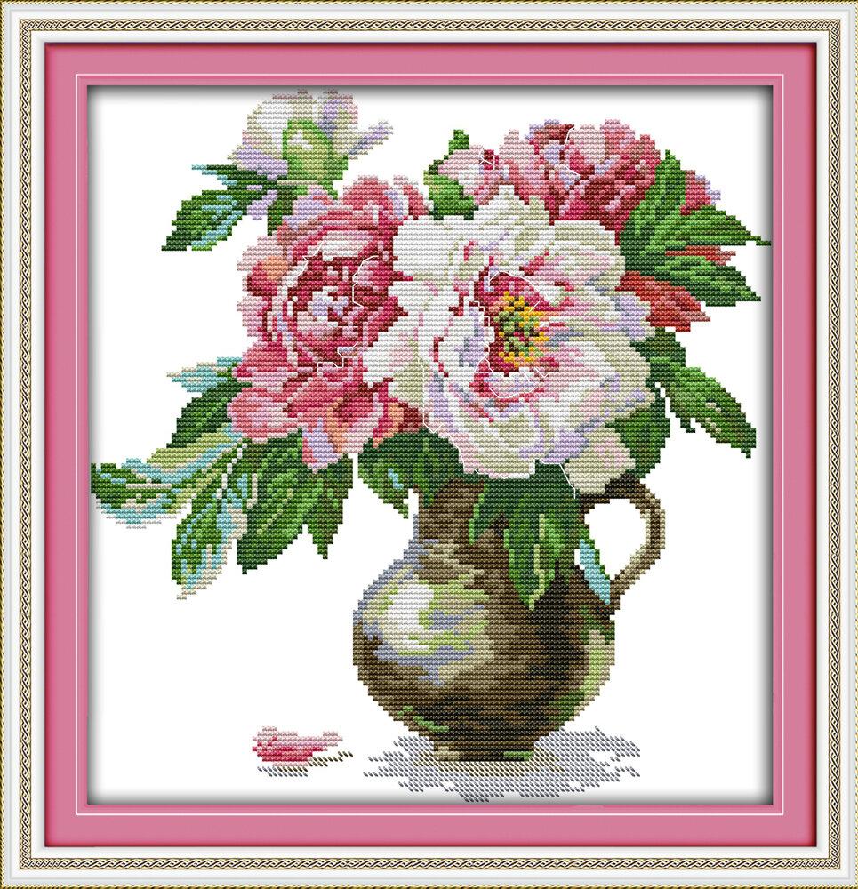 Набор для вышивания H 674 Пионы в вазе (4) 32x33