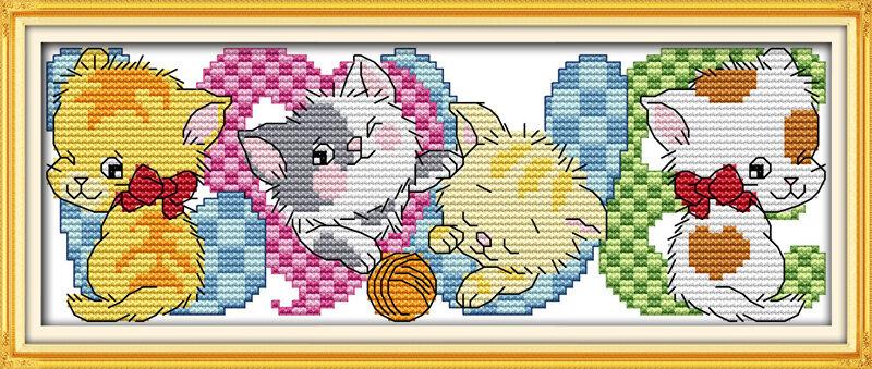 Набор для вышивания K 720 Любовь и котята 28x11