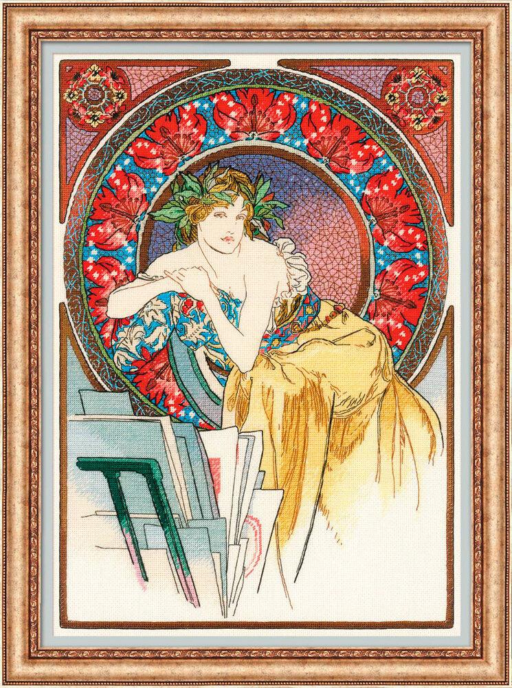 """Набор для вышивания """"RIOLIS"""" Premium 100/058 """"Девушка с мольбертом"""" по мотивам произведения А.Мухи"""", 28х40см"""