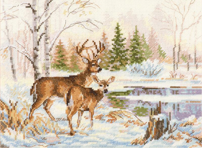 """Набор для вышивания """"Алиса"""" 3-28 """"У лесного озера""""17 х 23 см"""