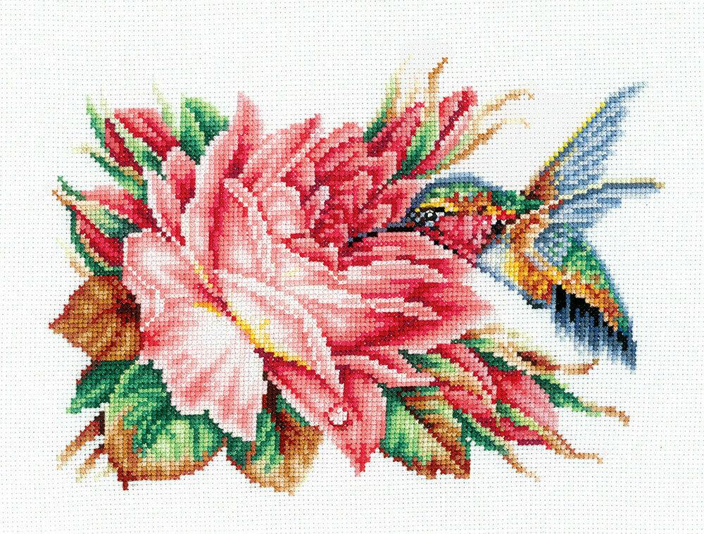 """Набор для вышивания """"ИН"""" №120К-43 """"Колибри и роза"""" 14.5 х 21 см"""
