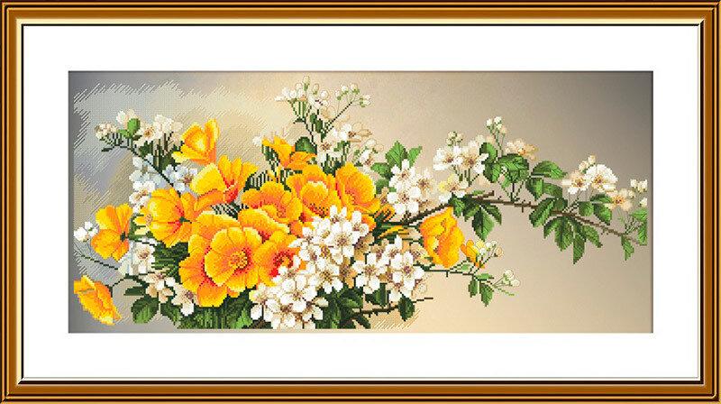 """Набор для вышивания """"Нова Слобода"""", 1500 """"Вишневое цветение"""" 34х22см"""