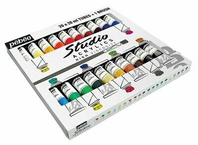 """Краска акриловая """"PEBEO"""" набор Studio Acrylics с кистью 20 цв. 20 мл"""