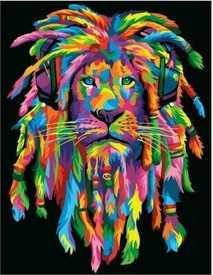 Картина по номерам PK 62001 Стильный радужный лев 40*50