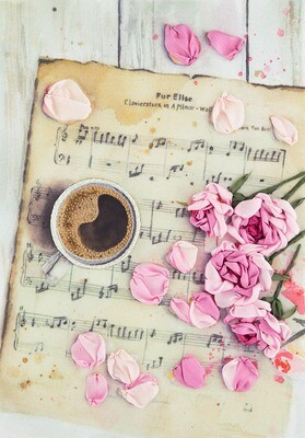 """Набор для вышивания """"PANNA"""" """"Живая картина"""" JK-2115 ( ЖК-2115 ) """"Розы на нотах"""""""