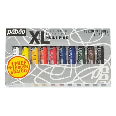 """Краска масляная """"PEBEO"""" набор XL с кистью 10 цв. 20 мл"""