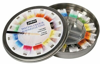 """Краска акварель """"PEBEO"""" набор Aquarelle Fine в металлической коробке с кистью 300075 12 цв."""