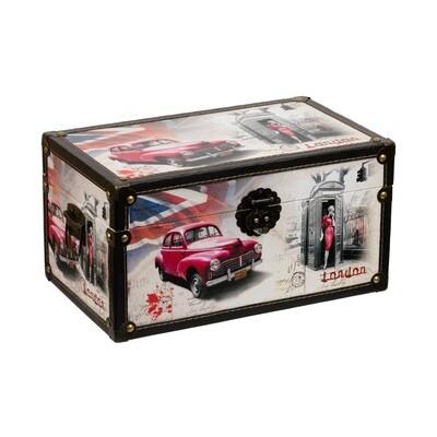 "DBK-03 декор. шкатулка ""сундучок"" 35 x 21 x 19 см, №013 ""Красный автомобиль"""