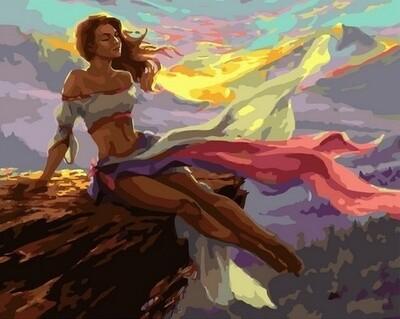 Картина по номерам Paintboy, RDG-4251 Девушка в горах 40х50см