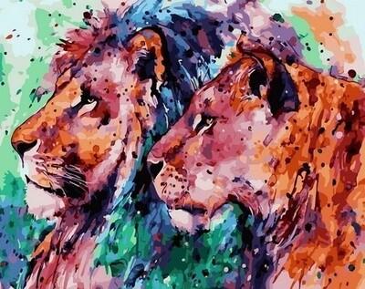 Картина по номерам Paintboy, RDG-4260 Акварельные львы 40х50см