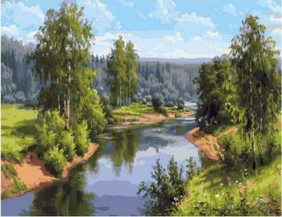Картина по номерам PK 59028 (GX 27882) Проточная река (Прищепа Игорь) 40*50