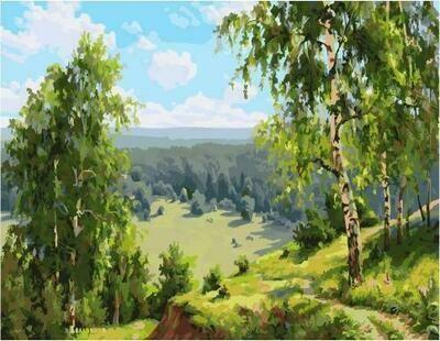 Картина по номерам PK 59029 (GX 24521) Березовая долина (Прищепа Игорь) 40*50