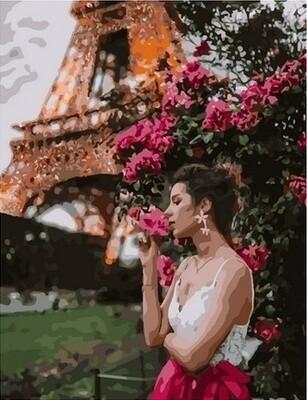 Картина по номерам Paintboy, RDG-4327 Девушка с цветами в Париже 40х50см