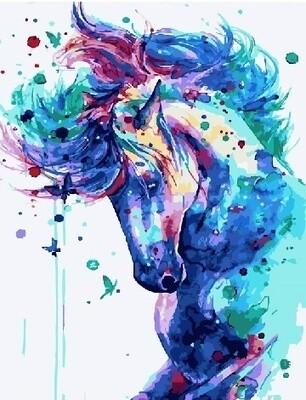 Картина по номерам 40х50см - Синяя лошадь