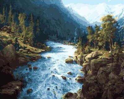 Картина по номерам GX 32537 Сила горной реки 40*50