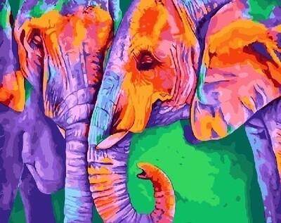 Картина по номерам 40х50см - Радужные слоны