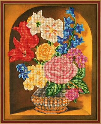 """Набор для вышивания """"Радуга бисера"""" №06 В-201 """"Букет в вазе"""" 27 х 35 см"""