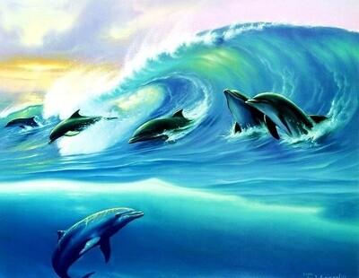 Картина по номерам 40х50см - Дельфины на волне