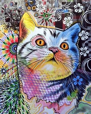 Картина по номерам 40х50см - Цветочный кот