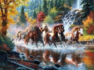 "Картина по номерам Paintboy RDG-0196 ""Табун лошадей в реке"" 40х50см"