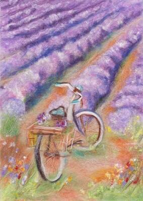"""Картина из шерсти WA-0166 """"Прогулка за лавандой"""""""