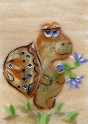 """Картина из шерсти WA-0131 """"Скромная черепашка"""""""