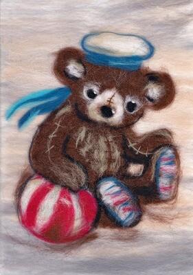 """Картина из шерсти WA-0141 """"Мишка морячок"""""""
