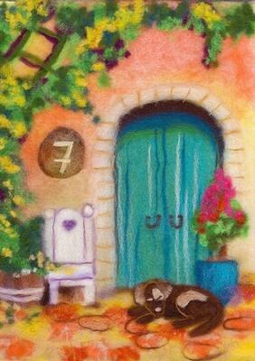 "Картина из шерсти WA-0170 ""Испанская сиеста"""