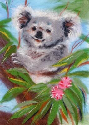 """Картина из шерсти WA-0136 """"Добродушная коала"""""""