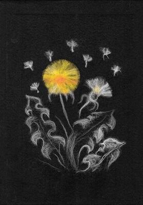 """Картина из шерсти WA-0142 """"Woolla in Black Одуванчики"""""""