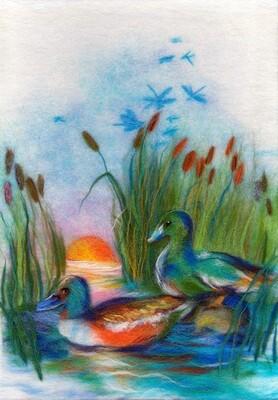 "Картина из шерсти WA-0167 ""Утки на озере"""