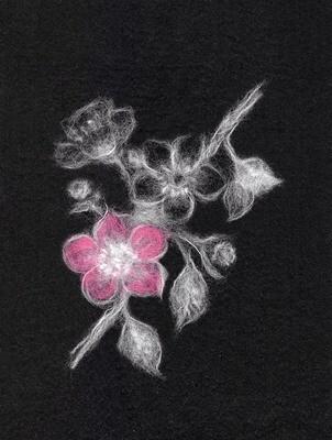 """Картина из шерсти WA-0145 """"Woolla in Black Яблоня"""""""