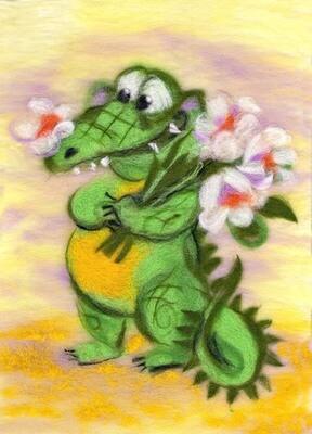 """Картина из шерсти WA-0140 """"Влюбленный крокодил"""""""