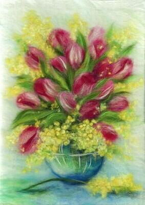 "Картина из шерсти WA-0185 ""Весенний букет"""