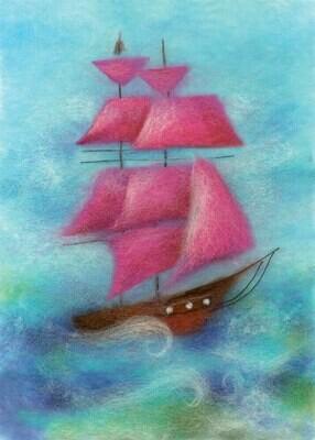 "Картина из шерсти WA-0186 ""Парус в море"""