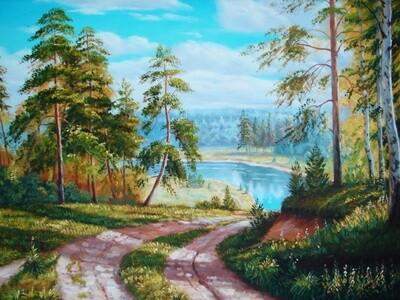 Картина по номерам 40х50см - Летняя дорога