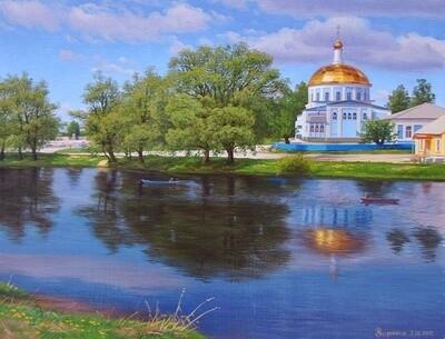 Картина по номерам 40х50см - Храм у реки