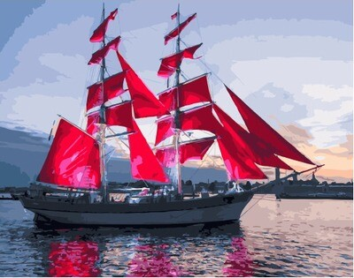 Картина по номерам GX 30349 Алые паруса идут в гавань 40*50