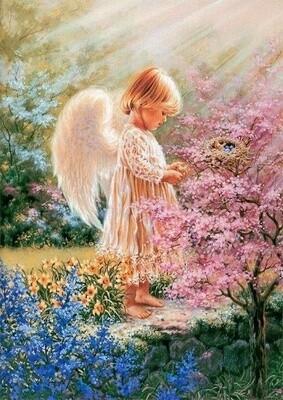 """Картина по номерам Paintboy RDG-0829 """"Ангелок у птичьего гнезда"""" 40х50см"""