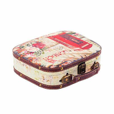 """DBQ-02 декор. шкатулка """"чемоданчик"""" 25 x 21 x 7.5 см, №010 """"Розовый совенок"""""""