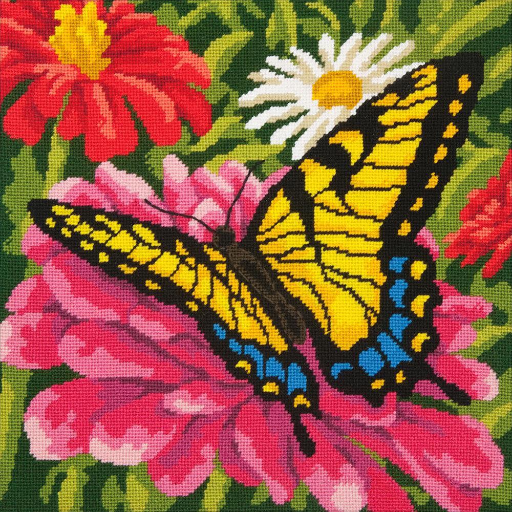 """Набор для вышивания """"DIMENSIONS"""" 71-20087 """"Бабочка на цветке""""35.5 х 35.5 см"""