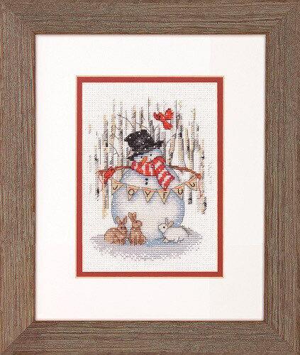 """Набор для вышивания """"DIMENSIONS"""" 70-08979 """"Радостный снеговик""""15.2 x 15.2 см"""