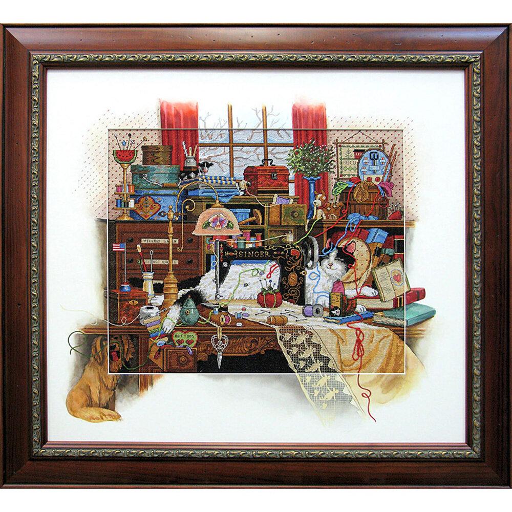 """Набор для вышивания """"DIMENSIONS"""" 03884 """"Кошка на швейном столе""""36 x 30 см"""