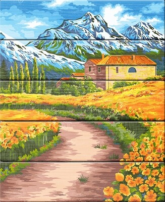 "Картина по номерам по дереву ""В горах Швейцарии"", 40х50см, ФРЕЯ, PKW-1 67"