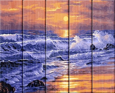 "Картина по номерам по дереву ""Закат над морем"", 40х50см, ФРЕЯ, PKW-1 66"