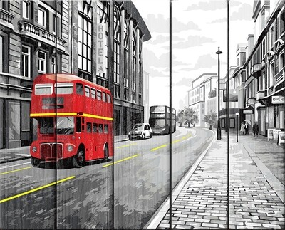 "Картина по номерам по дереву ""На улицах Лондона"", 40х50см, ФРЕЯ, PKW-1 65"