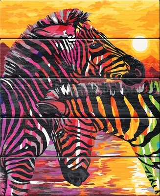 """Картина по номерам по дереву """"Разноцветные полоски"""", 40х50см, ФРЕЯ, PKW-1 63"""