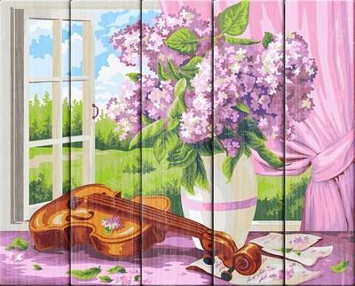 """Картина по номерам по дереву """"Сирень и скрипка. Жанна Когай"""", 40х50см, ФРЕЯ, PKW-1 60"""